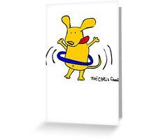 Yellow Dog Blue Hoop Greeting Card
