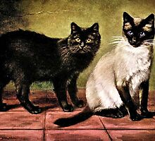 Black Mank and Royal Siamese Cat by goldenmenagerie