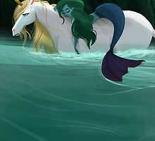 The Mermaid and the Unicorn by unicorndoodles