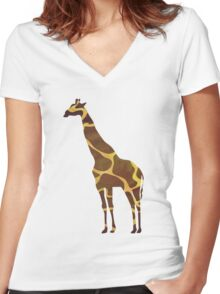 Giraffe Brown and Yellow Print Women's Fitted V-Neck T-Shirt