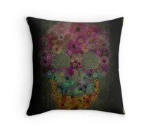 Sugar Skull Flowers In Bloom Throw Pillow