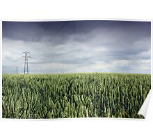 Wheat Field and Pylon Poster
