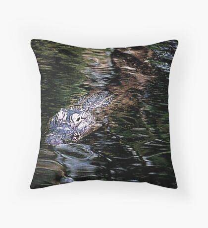 Gator Waiting Throw Pillow