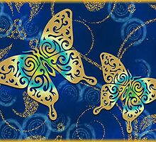 golden butterflies by semas