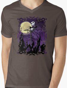 Halloween Skinny Ghost Mens V-Neck T-Shirt