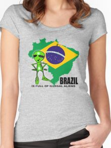 brazil is full of illegal aliens Women's Fitted Scoop T-Shirt