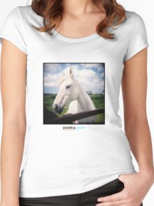 Holga White Horse Women's Fitted Scoop T-Shirt