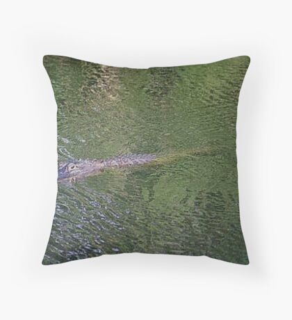 Gator Swimming Throw Pillow