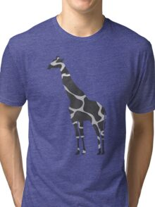 Giraffe Black and Light Gray Print Tri-blend T-Shirt