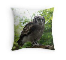 Milky Eagle Owl Throw Pillow