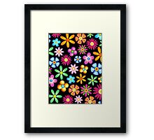 Spring Flowers Colorful Naif Design Framed Print