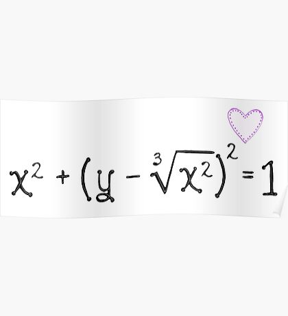 Math heart (white) Poster