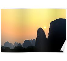 sunset in yangshuo tradtionnal landscape Poster