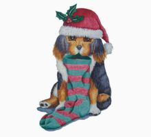 cute black and brown puppy with christmas stocking Kids Clothes