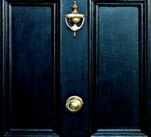 Haunted Blue Door with 221b number Sticker