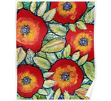 Red Pansies Poster