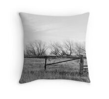 Gate in Kansas Field Throw Pillow