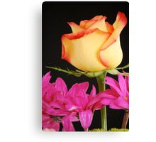 Yellow Rose with Pink Flowers Canvas Print