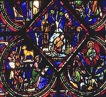 1984 Sens Cathedral window old glass C13 or 14 by Fred Mitchell