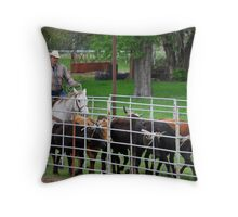Herding the Steer Back to the Pen Throw Pillow