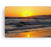 sunsets on the beach in california Canvas Print