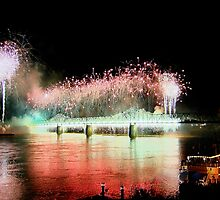 """Fireworks Over Louisville Ky. On The Ohio River"" by Melinda Stewart Page"