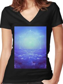 All but the Brightest Star (Sirius Star Geometric) Women's Fitted V-Neck T-Shirt