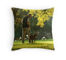 walking with dog Throw Pillow