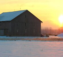sunrise behind the barn by 1busymom