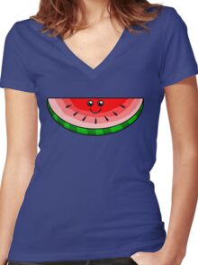 Cute Watermelon Women's Fitted V-Neck T-Shirt