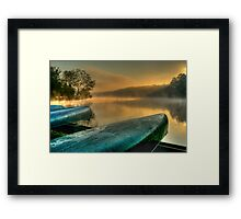 Lakeside Canoes in HDR Framed Print