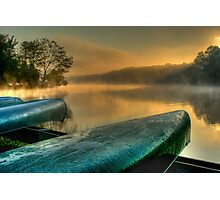 Lakeside Canoes in HDR Photographic Print
