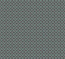 GET HAPPY LINKS CIRCLE PATTERN GRAY AND TURQUOISE by veggiemuse
