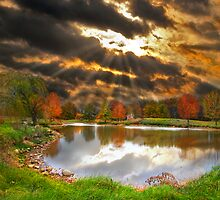 Pond Sunray Sunset by pinkarmy25