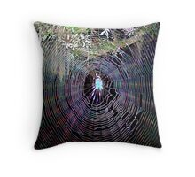 Fantasy Spider in a Natural Web Throw Pillow