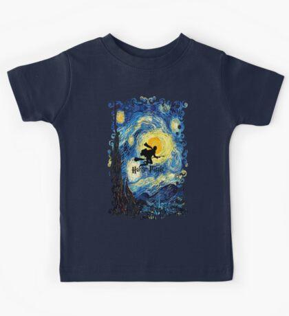 Halloween Flying Young Wizzard with broom Kids Tee