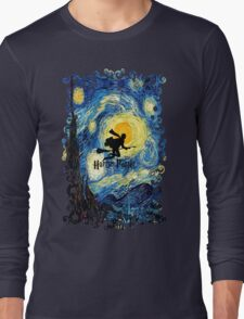 Halloween Flying Young Wizzard with broom Long Sleeve T-Shirt