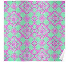 Fancy Teal and Pink Damask Pattern Poster