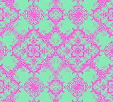 Fancy Teal and Pink Damask Pattern by Blkstrawberry