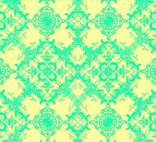 Fancy Yellow and Teal Damask Pattern by Blkstrawberry