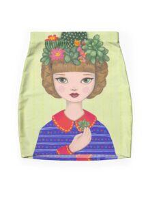 Cacti - girl with a Cacti garden Mini Skirt