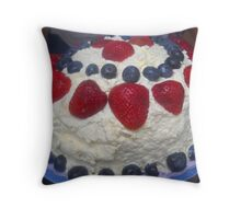 Strawberry Blueberry, Whipped Cream Cake Throw Pillow