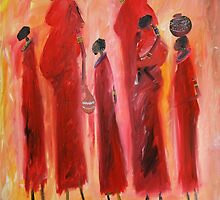 Moms and kids by Mwenye painter