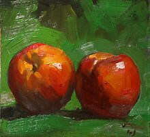 Summer Peaches on Green Cloth by Les Castellanos