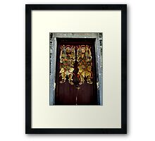 Historical Temple door painting Chinese Gods Framed Print