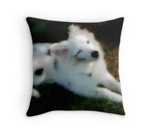 """Isaac, First Day In His New Forever Home"" Throw Pillow"