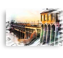Watercolor Dam Canvas Print