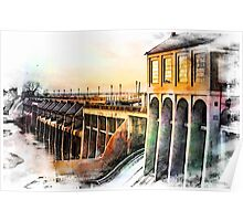 Watercolor Dam Poster