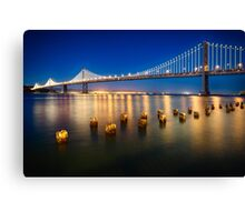 Bay Bridge Night View Canvas Print