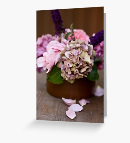 Bouquet and petals Greeting Card